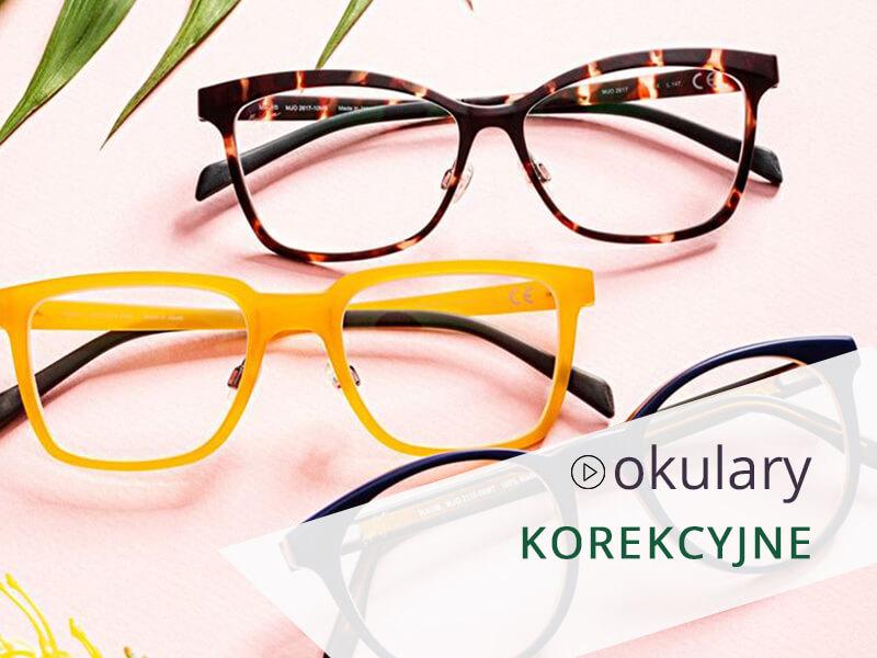 Okulary korekcyjne w różnych oprawkach.