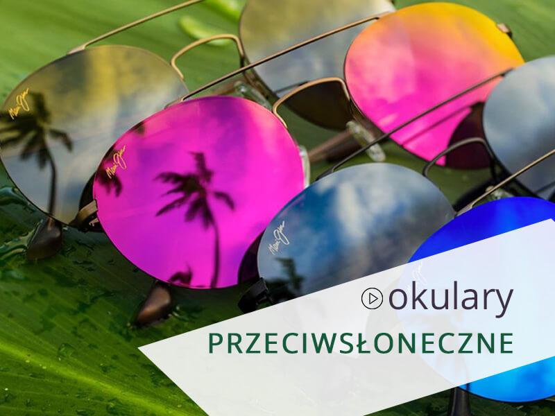 Okulary przeciwsłoneczne ze szkłami w różnych kolorach.